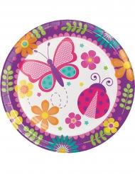 8 Assiettes en carton Papillon et Coccinelle 23 cm