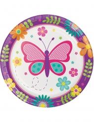 8 Petites assiettes en carton Papillon et Coccinelle 18 cm