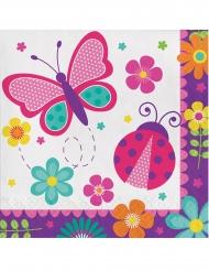16 Serviettes en papier Papillon et Coccinelle 33 x 33 cm
