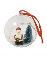 Boule transparente avec Père Noël et sapin 6 cm