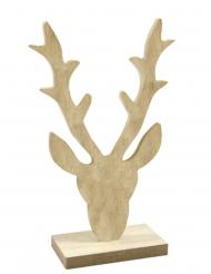Décoration en bois Tête de renne naturel 18 x 11 x 4,5 cm