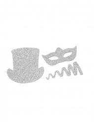 8 Confettis de table Chapeaux et cotillons pailletés argentés 5 cm