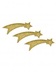 5 Etoiles filantes en résine dorées pailletées avec sticker 7 x 2 x 0,5 cm