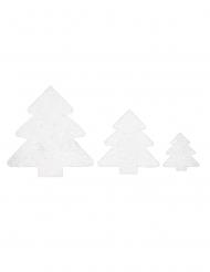 6 Décorations de table Sapin blanc à paillettes