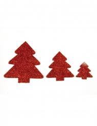 3 Décorations de table Sapin rouge à paillettes