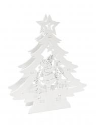 Décoration en bois Sapin avec Père noël blanc 13,5 x 3 x 16,2 cm