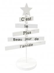 Décoration en bois Sapin de Noël blanc 18 cm
