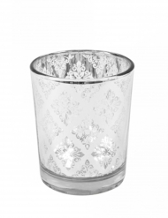 Photophore en verre mandala miroir argent 6,8 x 5,8 cm