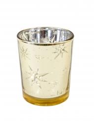 Photophore en verre étoile du berger doré 6,8 x 5,8 cm