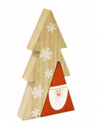 Centre de table en bois Père Noël naturel 8,5 x 15 x 2,2 cm