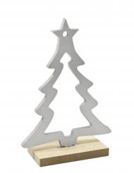 Décoration en bois Sapin sur socle argent 15 x 10,5 x 4,5 cm
