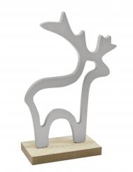 Décoration en bois Renne argenté 15,5 x 10,5 x 4,5 cm
