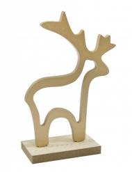 Décoration en bois Renne doré 15,5 x 10,5 x 4,5 cm