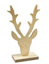 Décoration en bois Tête de renne doré 18 x 11 x 4,5 cm