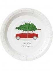 8 Petites assiettes en carton Voiture de Noël 18 cm