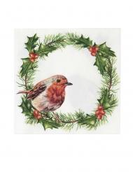 20 Petites serviettes en papier Houx de Noël 25 x 25 cm