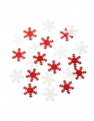 Confettis de table flocons rouge et blanc métallisé 25g