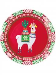 8 Assiettes en carton Lama de Noël 23 cm