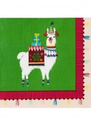 20 Serviettes en papier Lama de Noël 33 x 33 cm