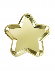 12 Assiettes en carton en forme d'étoile doré métallisé