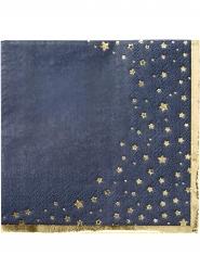 16 Petites serviettes en papier dorées métalliques 25 x 25 cm