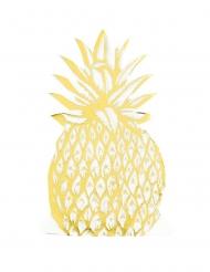 12 Serviettes en papier Ananas doré 20 x 11 cm