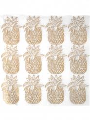 20 Serviettes en papier Ananas métallique 33 x 33 cm