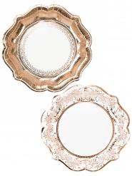 12 Assiettes en carton Porcelaine rose gold 23 cm