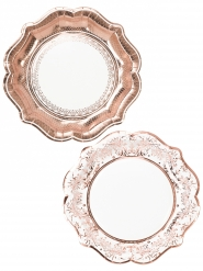 12 Assiettes en carton Porcelaine rose gold 23 cm
