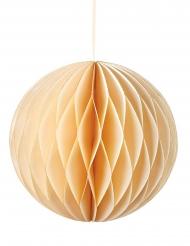 Boule à suspendre en papier alvéolé crème 15 cm