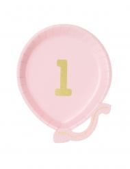 12 Petites assiettes en carton ballon 1er anniversaire rose 18 cm