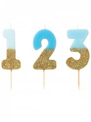 Bougie sur pique chiffres bleus et dorés pailletés 13,8 cm