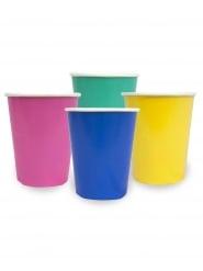 12 Gobelets en carton rose, jaune, bleu et vert 250 ml