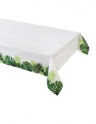 Nappe en papier Tropical blanche et verte 180 x 120 cm