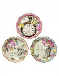 12 Petites assiettes en carton Alice au Pays imaginaire 17 cm