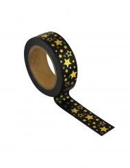 Washi tape noir étoiles dorées 1,5 cm x 10 m
