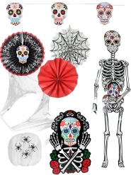 Kit 7 décorations d'Halloween Dia de los muertos