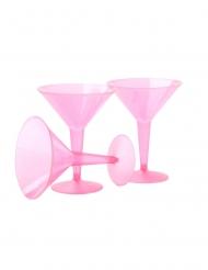 10 Verres à martini en plastique rose neon 237 ml