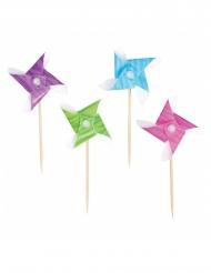 50 Piques moulins à vent multicolores 8,5cm