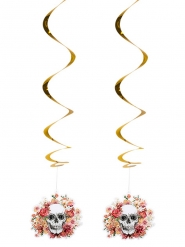 2 Suspensions en spirales squelette fleuri 85 cm