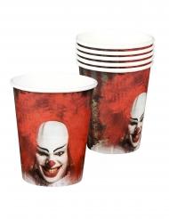 6 Gobelets en carton Clown terrifiant 25 cl