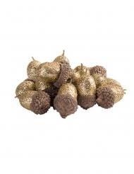 15 Glands pailletés dorés 3 cm