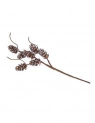 Branche pommes de pin pailletée argentée avec tortueux 23 cm