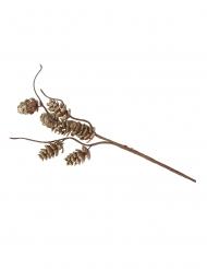 Branche pomme de pin pailletée dorée avec tortueux 23 cm