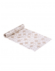 Chemin de table en satin Flocons ivoire pailleté 28 cm x 3 m