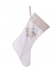 Chaussette en lin du Père Noël paillettes cuivrées 20 x 52 cm