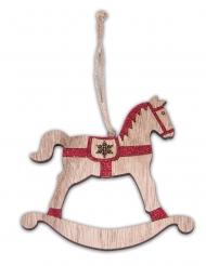 Cheval à bascule en bois pailleté rouge 12 cm
