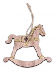 Cheval à bascule en bois pailleté doré 12 cm