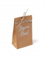 8 Sachets feston kraft Joyeux Noël paillettes argentées 7,5 x 12,5 cm