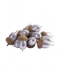 15 Glands pailletés argentés 3 cm